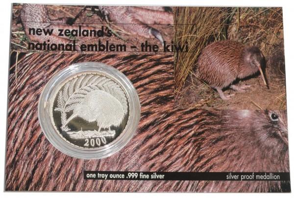 Neuseeland 1 Oz Silber Kiwi 2000 Proof Medaille im Blister