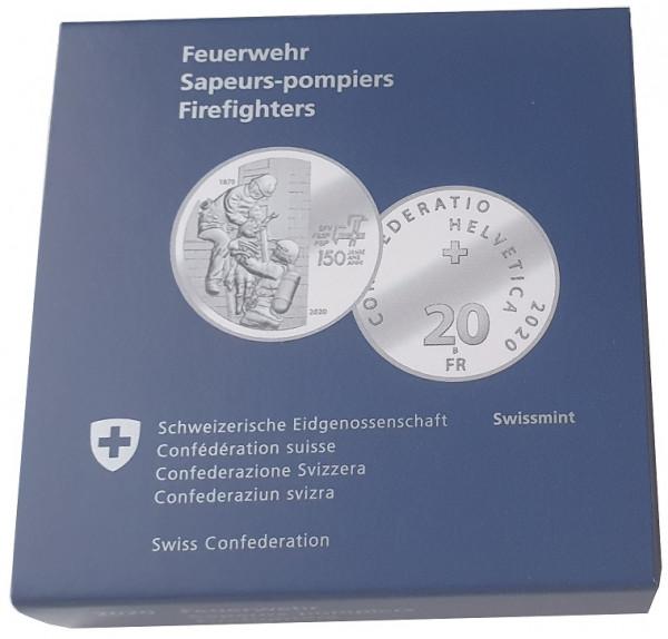 Schweiz 20 Franken Silber 150 Jahre Feuerwehr 2020 Polierte Platte Künstlerzertifikat