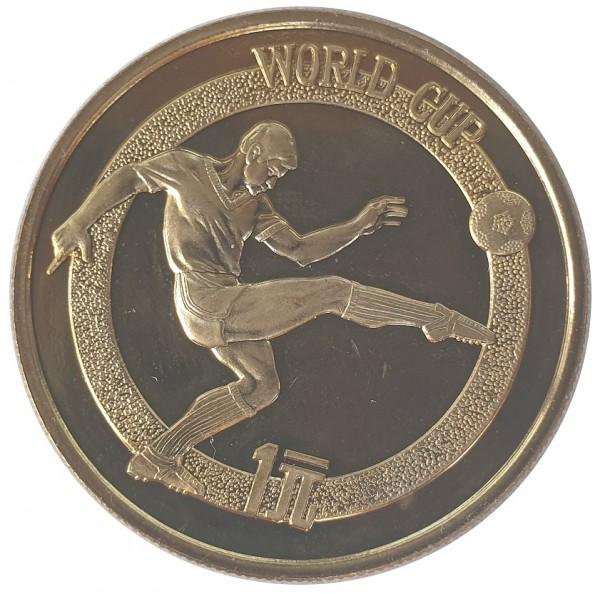 China 1 Yuan 1982 Fussball WM Messing Polierte Platte