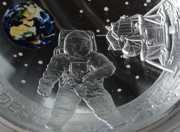 20 Euro Silber 50 Jahre Mondlandung Apollo 11 Gewölbte Prägung aus Österreich