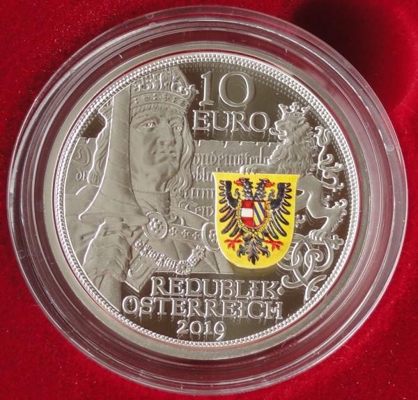 10 Euro Silber Ritterlichkeit 2019 Polierte Platte mit Kettenhemd und Schwert Österreich