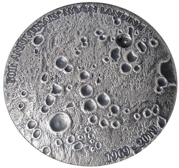 Kongo 1 Oz Silber 50 Jahre Mondlandung GEWÖLBTE PRÄGUNG Antik Finish mit Box