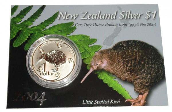 Neuseeland 1 Oz Silber Kiwi 2004 St im Blister