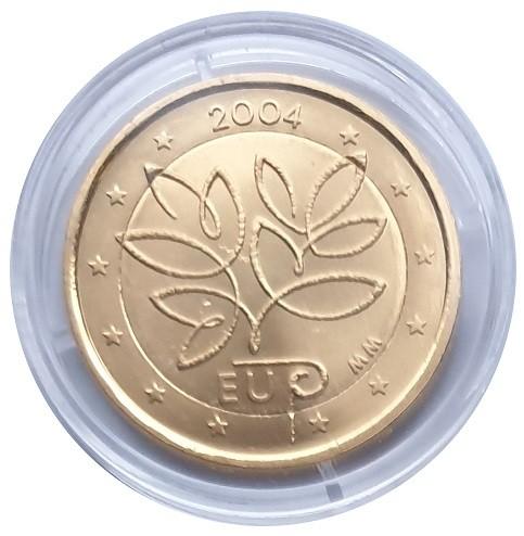2 Euro Finnland 2004 EU - Erweiterung Bankfrisch vergoldet in Münzkapsel