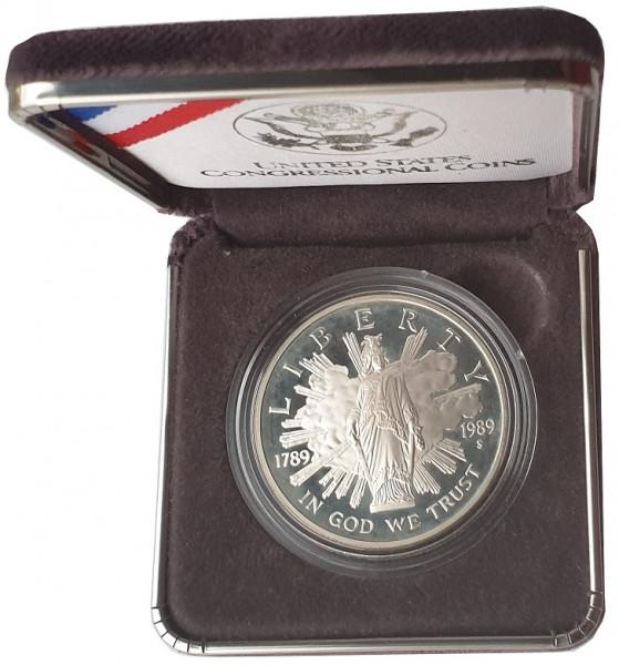USA One Dollar Silber 1989 Proof 200 Jahre Kongress der Vereinigten Staaten
