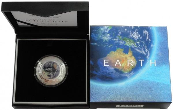 Australien 5 Dollars 1 Oz Silber Erde Farbe 2018 PP im Etui