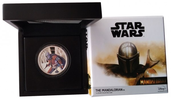 1 Oz Silber Mandalorian Farbe - Star Wars - Niue 2021 Polierte Platte im Etui
