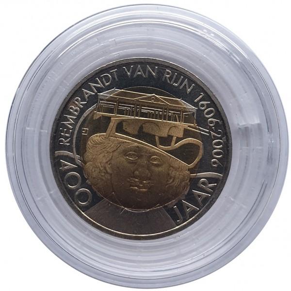 Niederlande 2 Rembrandt Euro aus Leiden - Motiv Museum Münzkapsel mit Echtheits - Zertifikat