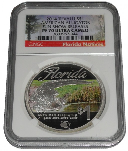 Tuvalu 1 Oz Silber Florida Alligator 2014 NGC PF-70