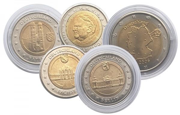 5 x 2 Euro Probeprägungen Specimen Deutschland und Vatikan
