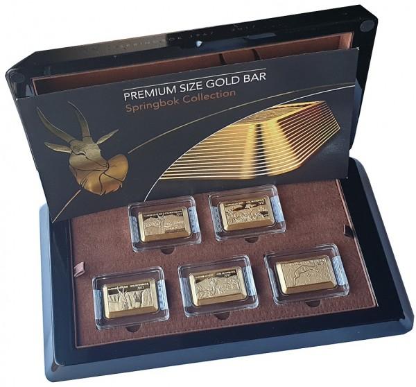 Fiji 5 x 1 gr Goldbarren Kollektion Springbock 2017 Premium Size Gold Bar