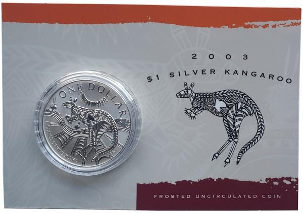1 Oz Silber Känguru 2003 im Blister - Frosted Unzirkuliert aus Australien