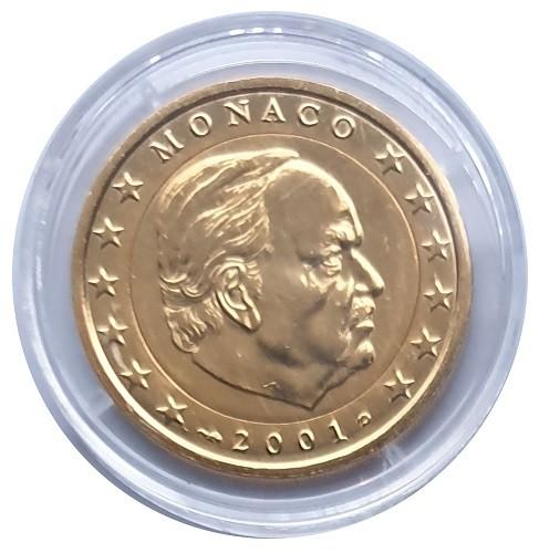 Monaco 2 Euro Fürst Rainier 2001 vergoldet in Münzkapsel