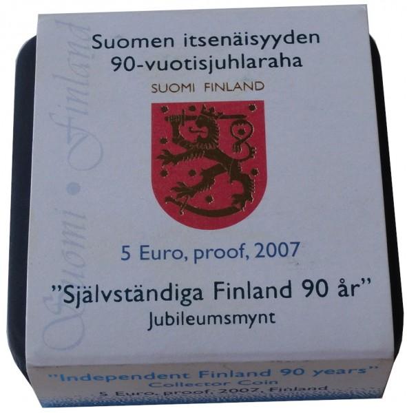 5 Euro Finnland 2007 - 90 Jahre Selbstständiges Finnland Polierte Platte im Etui