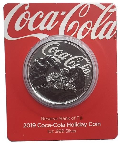 Fjii 1 Oz Silber Coca Cola - Holiday Coin Santa Claus 2019 Blister