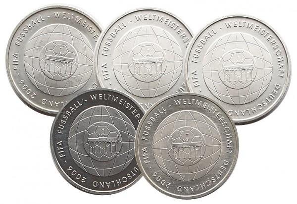 5 x 10 Euro Silber ADFGJ FIFA Fussball - Weltmeisterschaft 2006