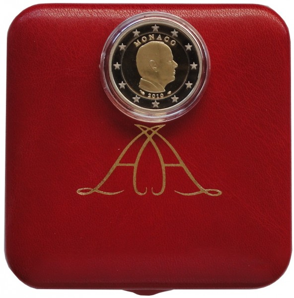 Monaco 2 Euro Gedenkmünze Fürst Albert II 2010 Polierte Platte im Etui