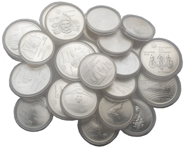 Canada 28 Silbermünzen Olympiade Montreal 1976 Komplettsatz in Münzkapseln