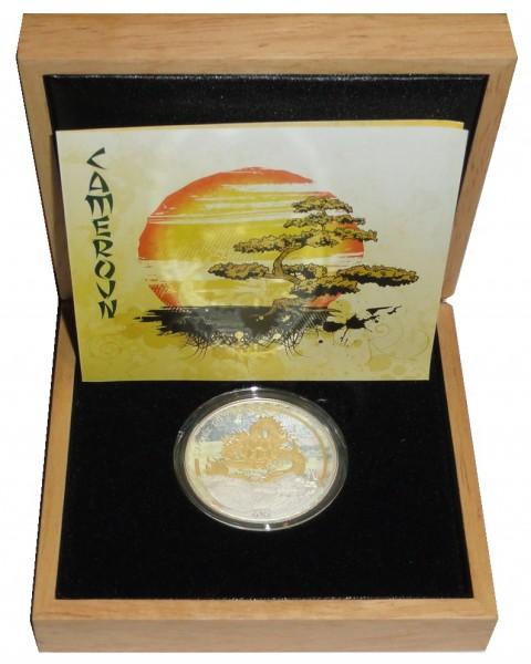 Kamerun 1000 Francs Silbermünze Jahr des Drache (Gilded) 2012