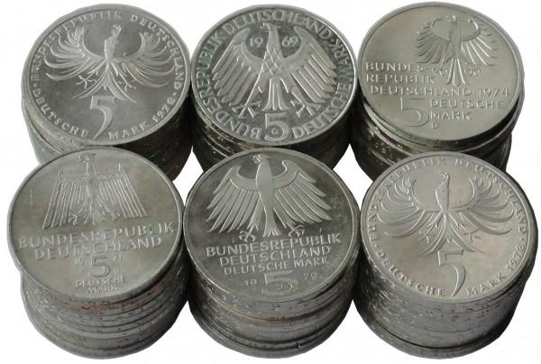 SONDERANGEBOT ! BRD: 5 DM Silber Gedenkmünzen 1967 - 1979