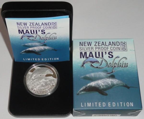 Neuseeland 1 Oz Silber Maui's Dolphin 2010 PP Etui