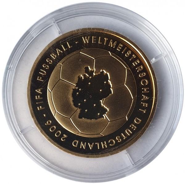 BRD: 10 Euro Silber Gedenkmünze 2003 Fußball WM 2006 vergoldet