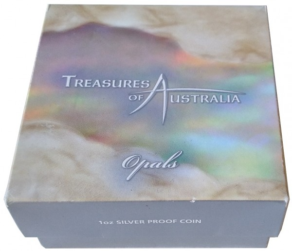 Australien 1 Oz Silber Treasures of Australia Opale 2008 Polierte Platte