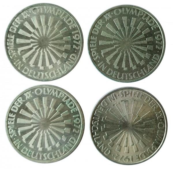 BRD: 4 x 10 DM Silber DFGJ Strahlenspirale Olympiade 1972 München