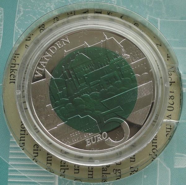 5 Euro Silber - Niob - Münze Burg Vianden 2009 aus Luxemburg im Folder