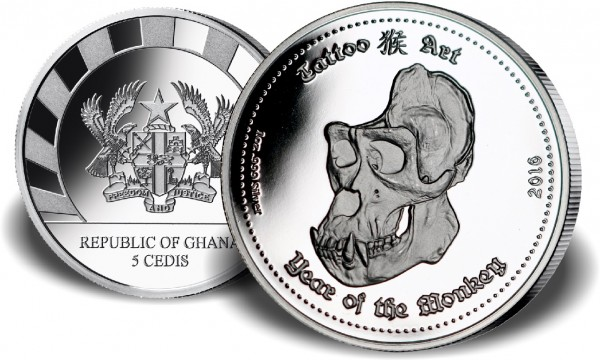 Ghana 5 Cedis 1 Oz Silber Tattoo Art - Year of the Monkey 2016 PP