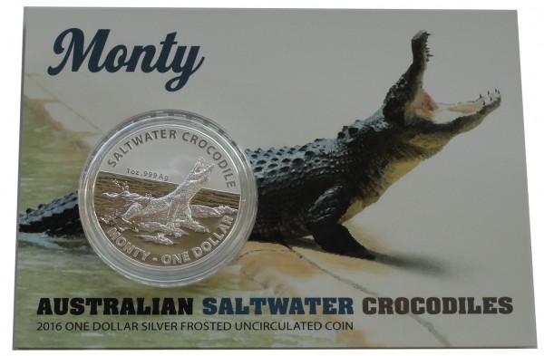 Australien 1 Oz Silber Salzwasser - Krokodil Monty im Blister