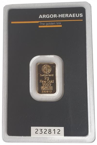 2 gr Goldbarren Argor Heraeus Schweiz 999,9/1000 Feingold im Blister