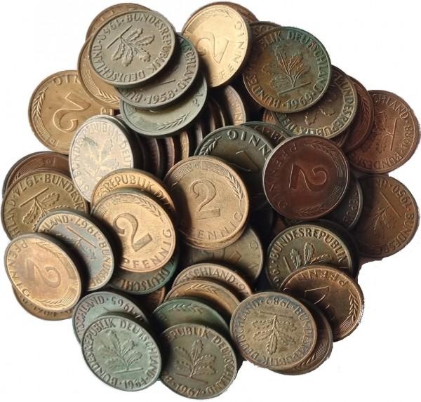 1,48 DM Umlaufmünzen 74 x 2 Pfennig