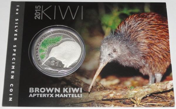 Neuseeland 1 Oz Silber Kiwi 2015 St Blister