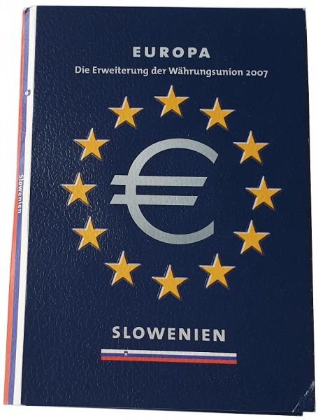 Slowenien 3,88 Euro Kursmünzensatz 2007 im Folder mit Silbermedaille 925/1000 Silber