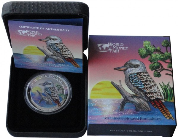 Australien 1 Oz Silber Kookaburra Farbe World Money Fair 2019