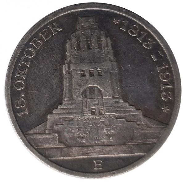 Deutsches Reich 3 Mark Silber 1913 100. Jahrestag der Völkerschlacht bei Leipzig 18. Oktober