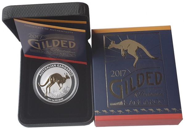 Australien 1 Oz Silber Känguru 2017 vergoldet Gilded im Etui