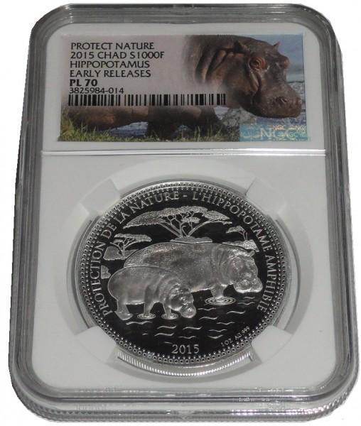 Tschad 1 Oz Silber Nilpferd ( Hippo ) 2015 NGC - PL 70