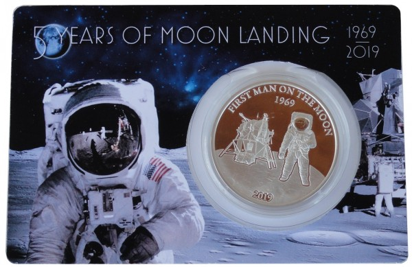 1 Oz Silber Mondladung Barbados First Man on the Moon 2019 Polierte Platte im Blister