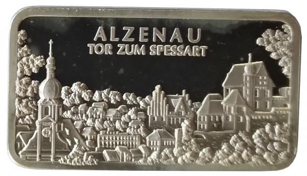 1 Oz Silberbarren Heraeus Edelmetalle Hanau. Motivbarren: Alzenau Tor zum Spessart
