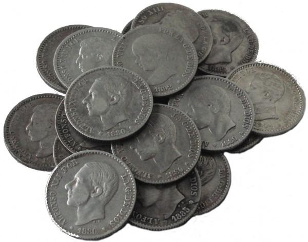 Anlagepaket: Spanien 19 x 50 Cent Silbermünzen 47,5 gr 835/1000 Silber