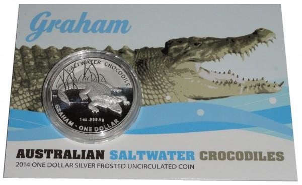 Australien 1 Oz Silber Graham Salzwasser - Krokodil 2014 St im Blister