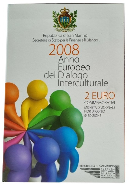 San Marino 2 Euro Gedenkmünze Europäisches Jahr des Interkulturellen Dialogs 2008 im Blister