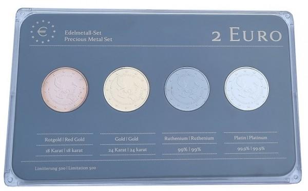 Monaco 4 x 2 Euro Münzen UNO 2013 Prestige Edelmetall - Set Rotgold, Gold, Ruthenium u. Platin