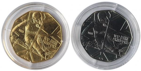 Österreich 2 x 5 Euro Silbermünzen 100 Jahre Skisport 2005