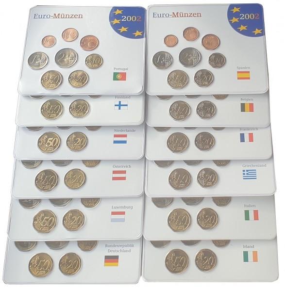 12 x 3,88 Euro Kursmünzensätze der Euroländer 2002 im Blister + BOX