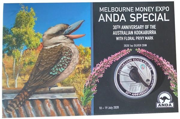 1 Oz Silber Kookaburra - Melbourne Money Expo *Anda Special* 2020 Blister aus Australien