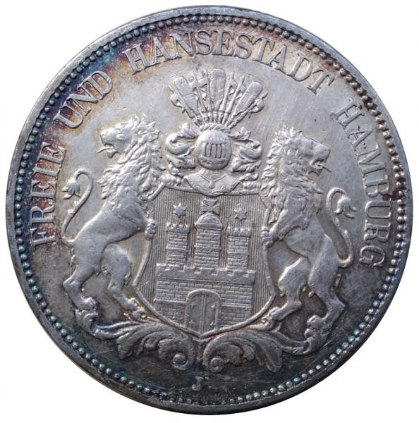 Deutsches Kaiserreich 5 Mark Silber Freie und Hansestadt Hamburg 1908 J