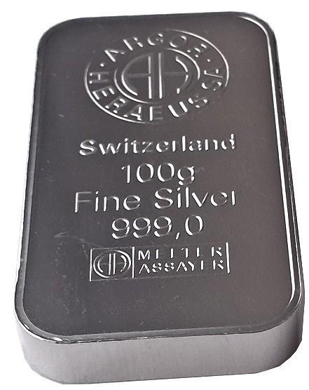 100 gr Silberbarren Argor Heraeus Schweiz
